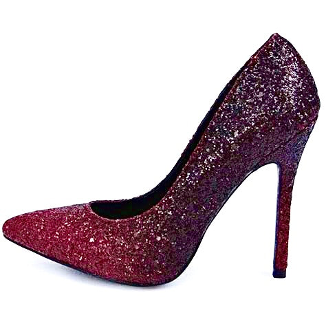 Women's Sparkly Burgundy Ombre Glitter Pumps high Heels wedding bride prom shoes