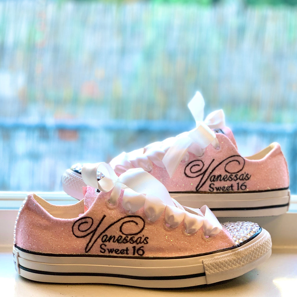 Sparkly Sweet 16 or Quince Birthday Glitter sneakers Converse All Stars Shoes