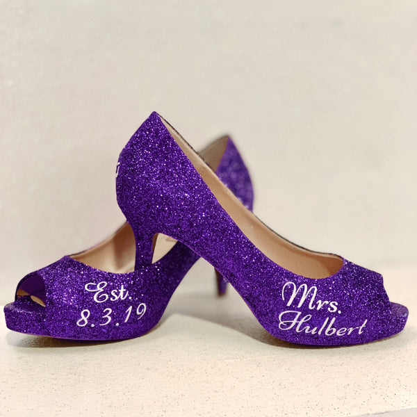 Women's Sparkly Purple plum Glitter low Heels wedding bride shoes - Glitter Shoe Co