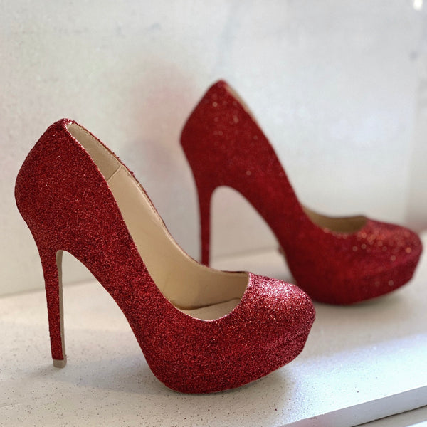 Women's Sparkly Burgundy Maroon Dark Red Glitter high low Heels shoes