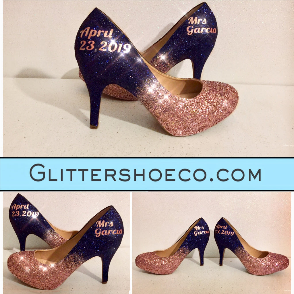 e3f1e8802431 ... Sparkly Navy Blue Rose Gold Ombre Glitter Heels wedding bride shoes
