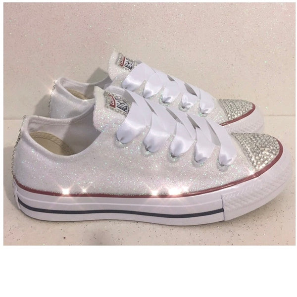 Women's Sparkly Glitter Converse All Stars Wedding Shoes sneakers - White