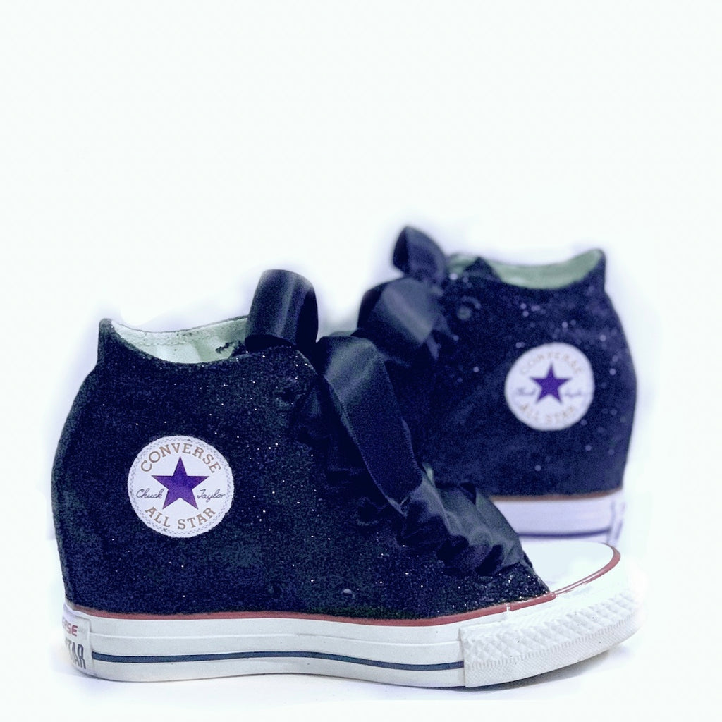 "Women's Sparkly Glitter Converse All Stars Lux 3"" Hidden Wedge - Navy Blue"