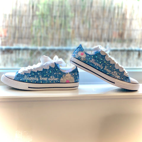 Womens Sparkly Glitter Bling Converse All Stars Baby Blue Cinderella wedding bride shoes