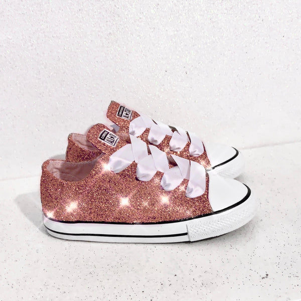 Toddler & Girls Sparkly Glitter Converse All StarsCrystals Sneakers Shoes - Rose Gold