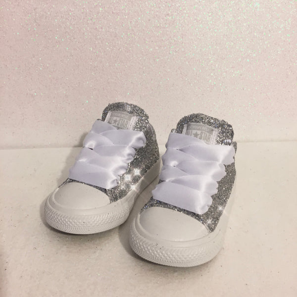 Toddler & Girls Sparkly Glitter Converse All Stars Crystals Sneakers Shoes -Silver