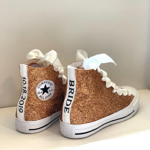 Women's Sparkly Glitter Converse All Stars Hi Top - Copper
