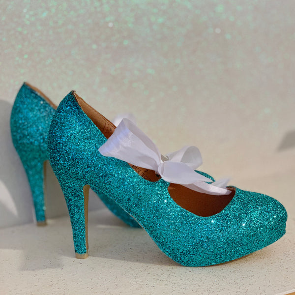 Women's Glitter Heels with Satin Ribbon Bow Tiffany Blue - Glitter Shoe Co