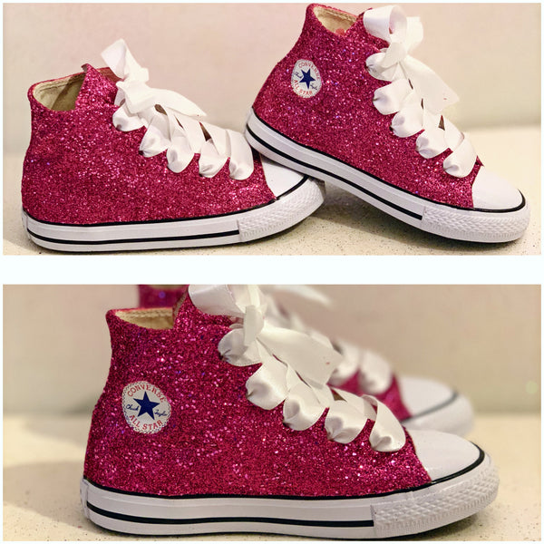 Kids Sparkly Glitter Converse All Stars High Top Sneakers Shoes Pink