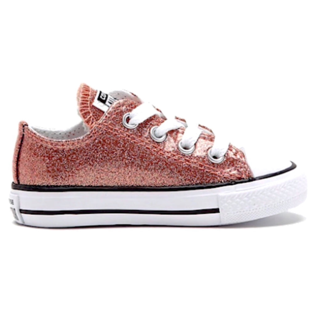 686e92c0647f Kids Sparkly Glitter Converse All Star low Sneakers Shoes Rose gold –  Glitter Shoe Co