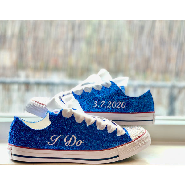 Women's Sparkly Royal Blue Glitter Crystals Converse All Star wedding bride prom shoes