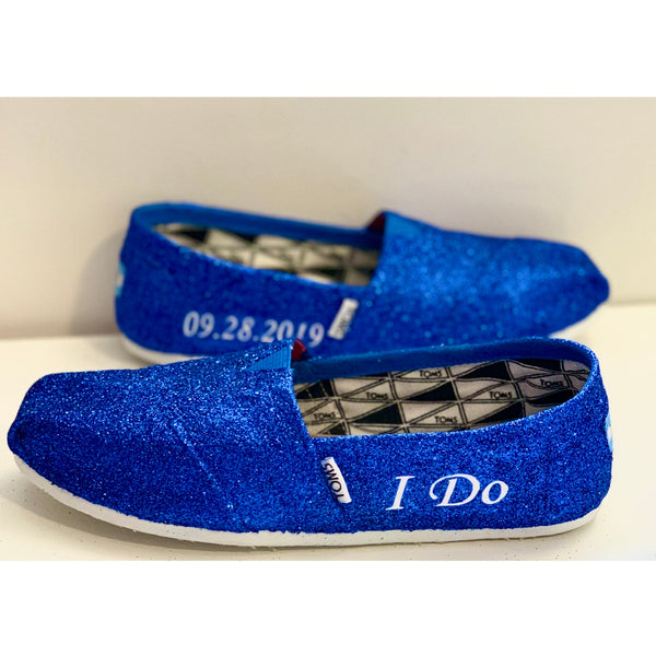 Women's sparkly Glitter Toms Royal Blue wedding bride gift shoes comfortable flats