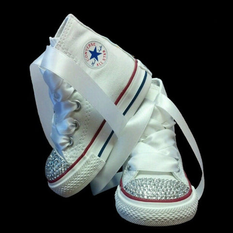 Little Kids Girls White Converse All Stars Bling Flower Girl Shoes - High Top