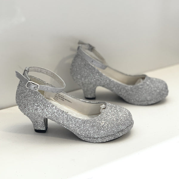Girls Sparkly Glitter Mary Jane Heels Flower Girl Birthday Gift Pageant Shoes Champagne Silver