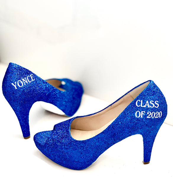 Sparkly Royal Blue Glitter high & low Heels wedding bride Peep toe or Pumps shoes Personalized