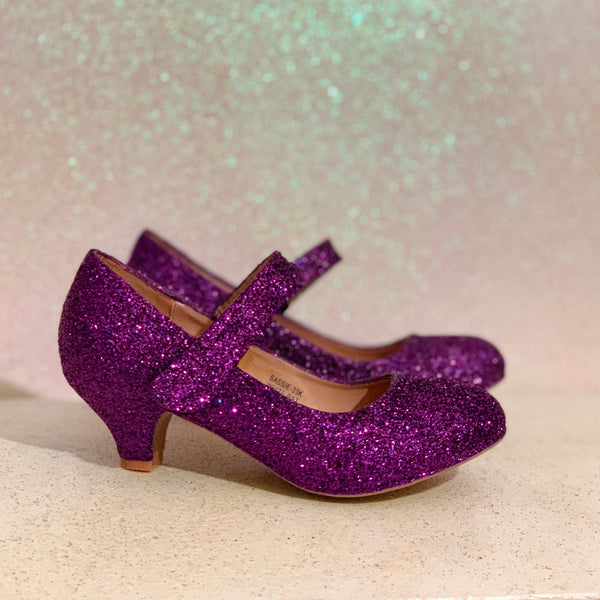 Girls Sparkly Glitter Mary Jane Heels Flower Girl Birthday Gift Pageant Shoes Purple
