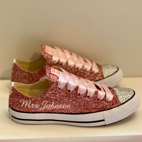 Women's Sparkly Rose Gold Pink Glitter Converse All Stars Bride Wedding Shoes sneakers