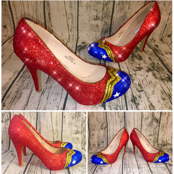 Woman Sparkly Wonder WW Super Hero Glitter heels shoes wedding bride - Glitter Shoe Co