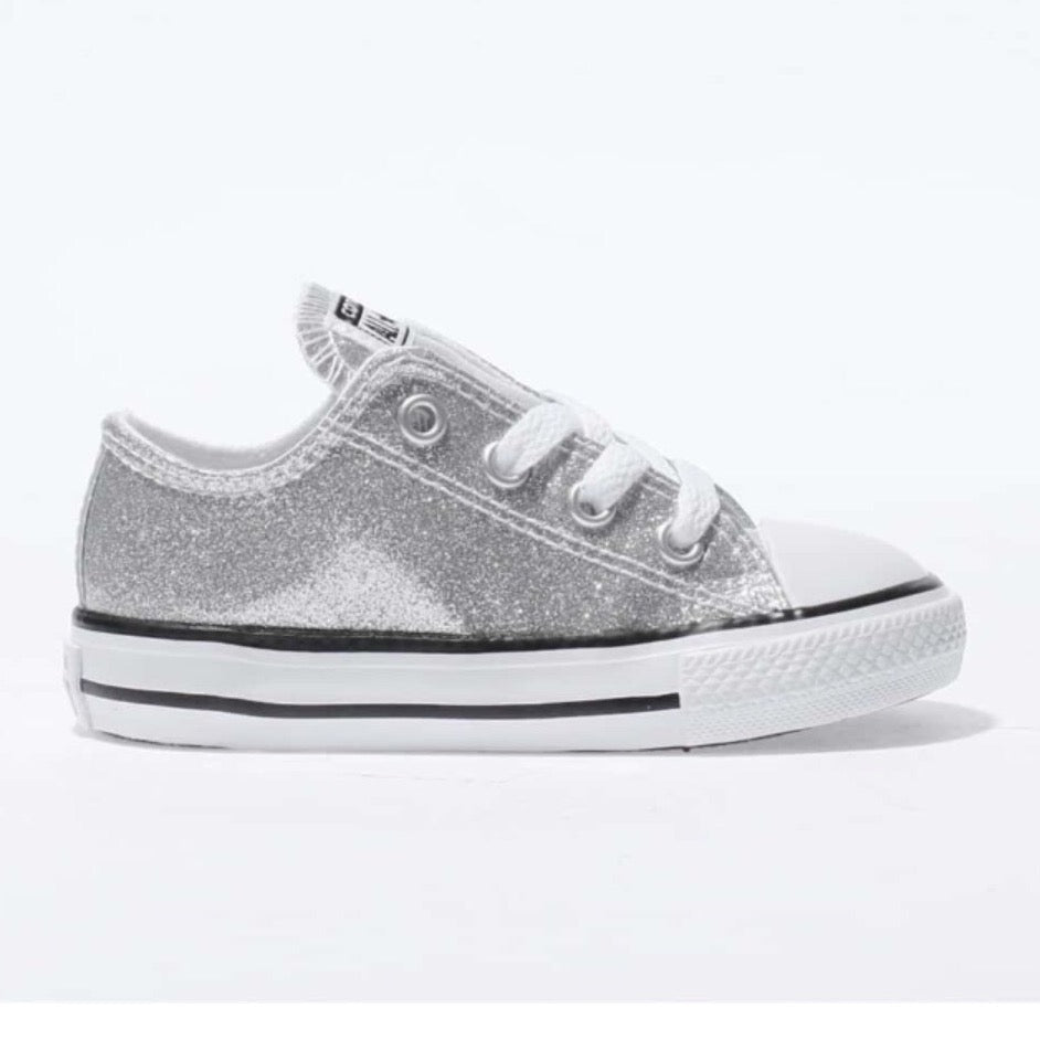 448386d9f4bf Kids Sparkly Glitter Converse All Star low Bling Sneakers Shoes Silver –  Glitter Shoe Co