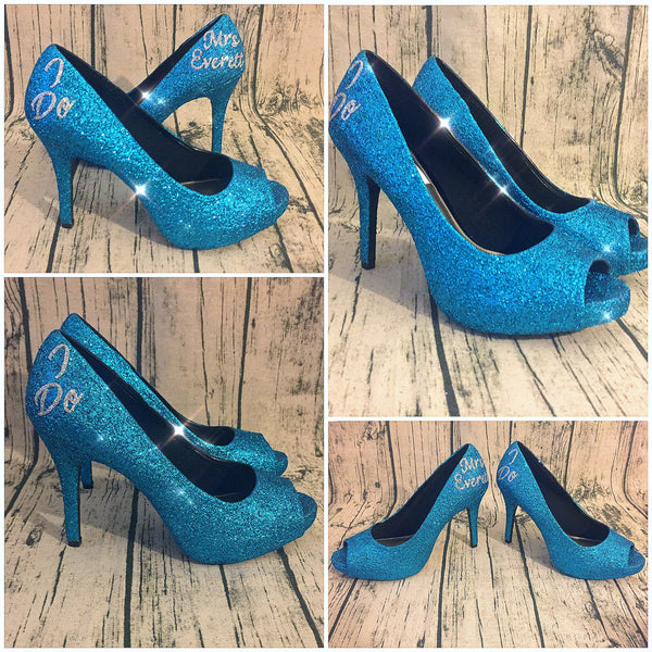 Women's Sparkly Turquoise Blue Glitter Pumps Heels Wedding bride Shoes Malibu
