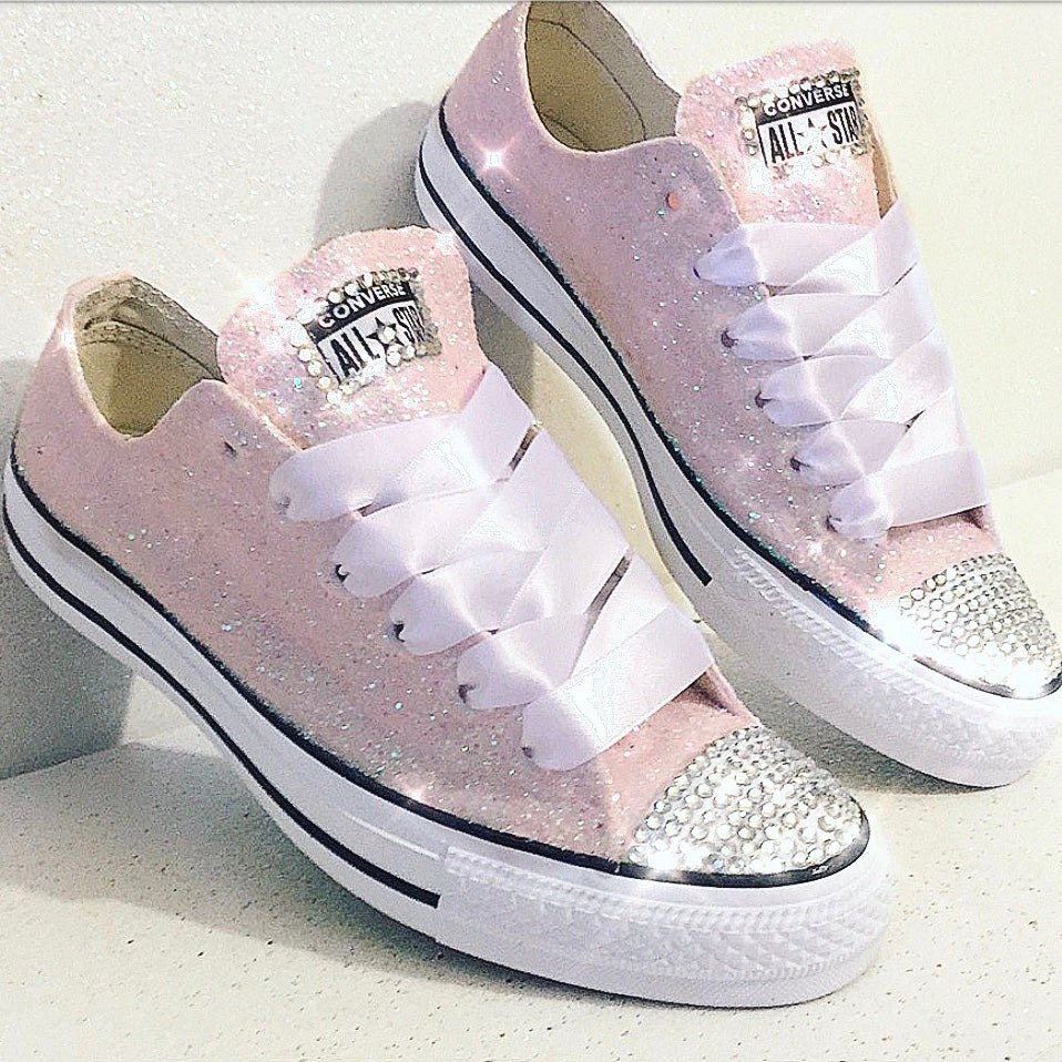 Women's Sparkly Glitter Converse All Star Sneakers  Light Pink Bridal wedding shoes - Glitter Shoe Co