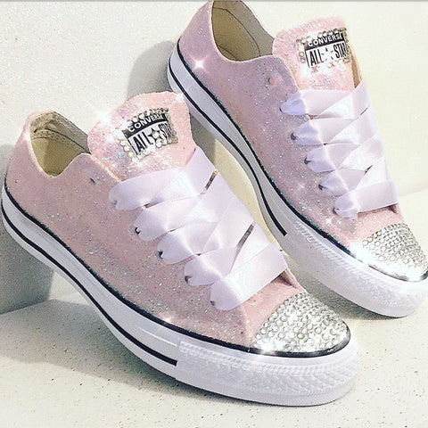 1df5ed8c38af Women's Sparkly Glitter Converse All Star Sneakers Light Pink Bridal  wedding shoes - Glitter Shoe Co