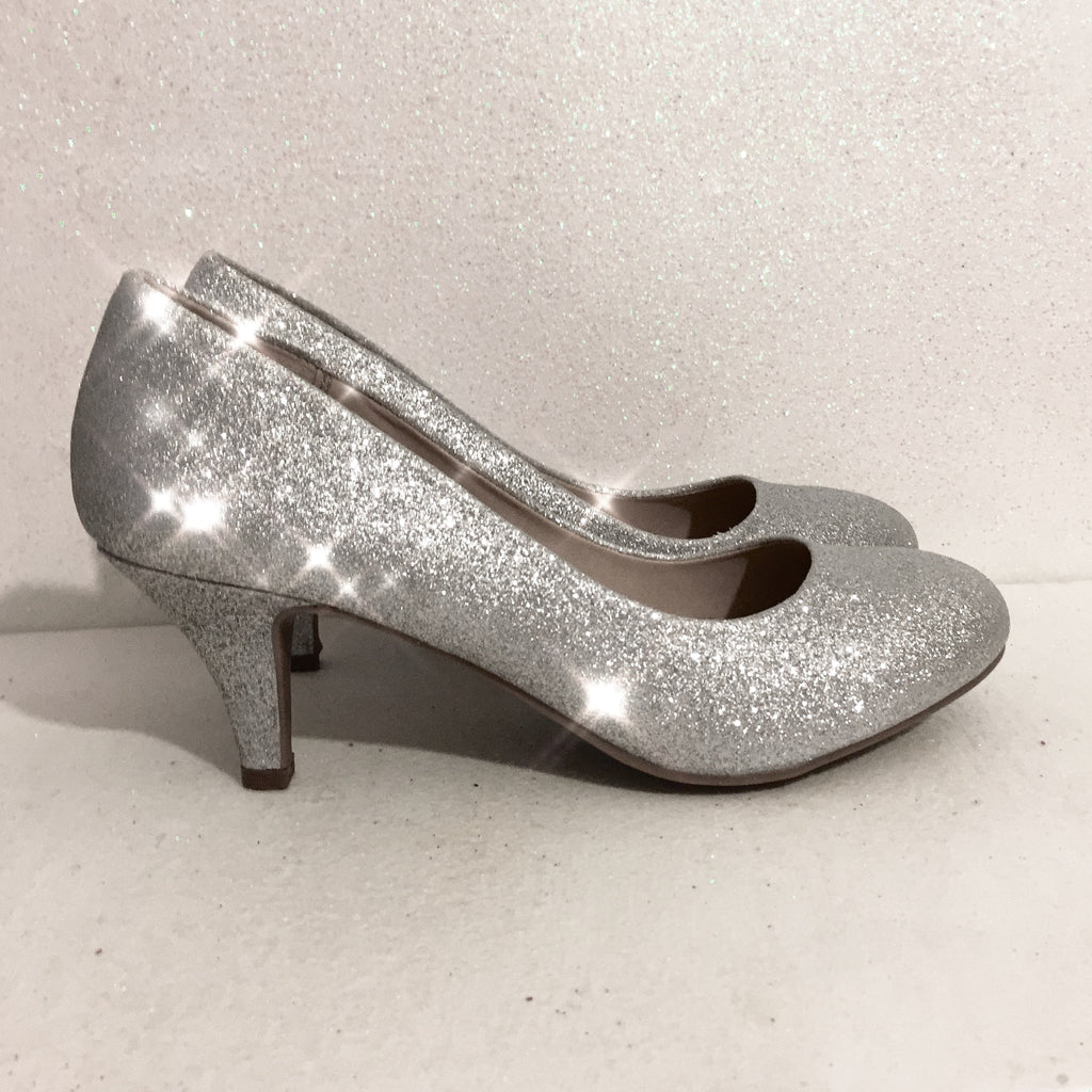 Women's Sparkly Silver Glitter Heels shoes Wedding Bride Pumps high or low