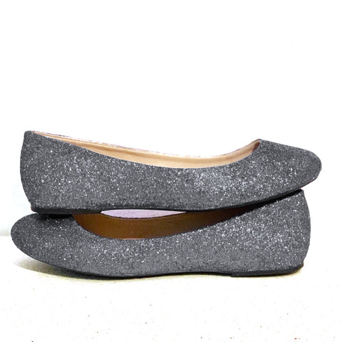 Women's Sparkly Glitter Gunmetal Grey Dark Silver Ballet Flats bride wedding shoes