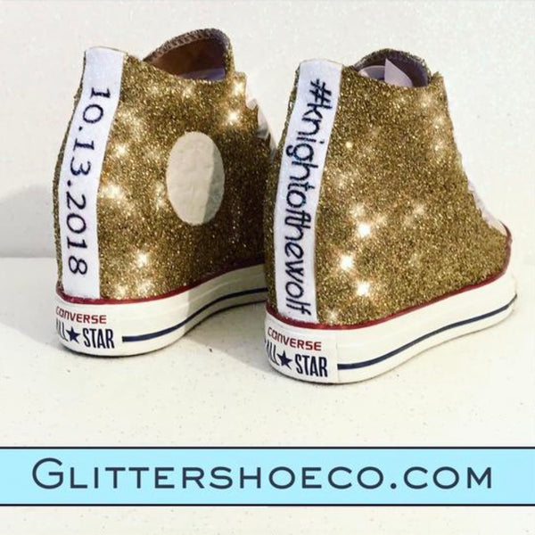 Women's Sparkly Glitter Converse All Stars Lux Wedge Heel white Gold