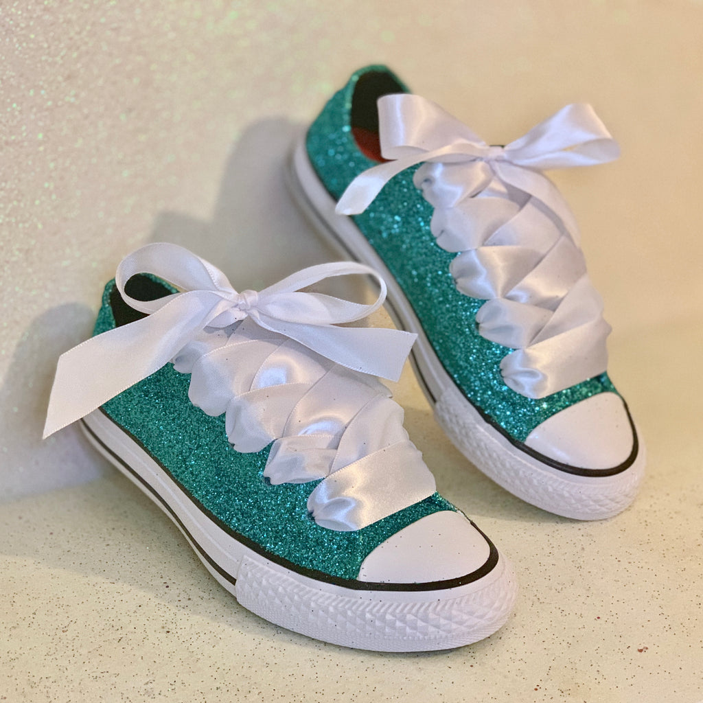 Women's Glitter Converse All Stars with Satin Ribbon Bow -Tiff Blue