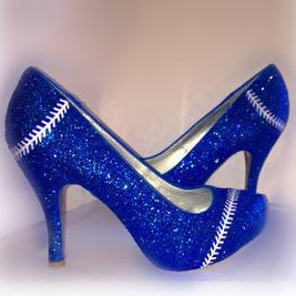 Women's Sparkly Royal Blue Glitter BASEBALL stitch high & low Heels Stiletto shoes