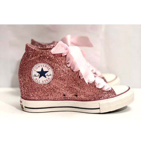 Women's Sparkly Glitter Converse All Stars LUX Wedge Heel - Rose Gold