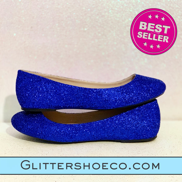Sparkly Royal Blue Glitter Ballet Flats Wedding Bridal Shoes - Glitter Shoe Co