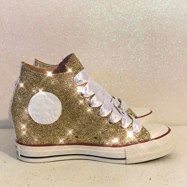 Women's Sparkly Glitter Converse All Stars Lux Wedge Heel - White Gold