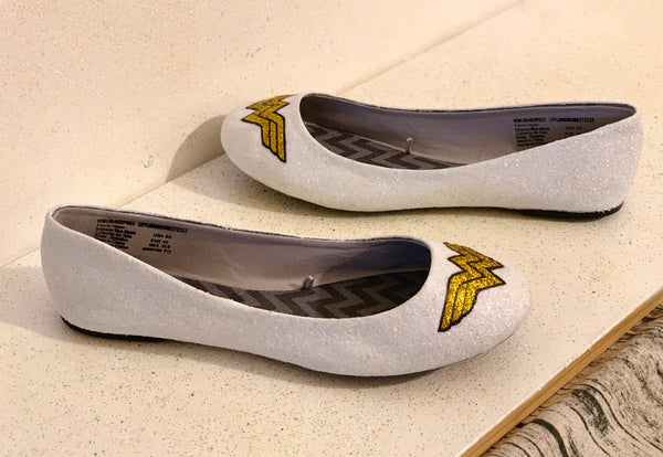 Women's Sparkly Wonder Woman Superhero White or Ivory glitter ballet flats shoes