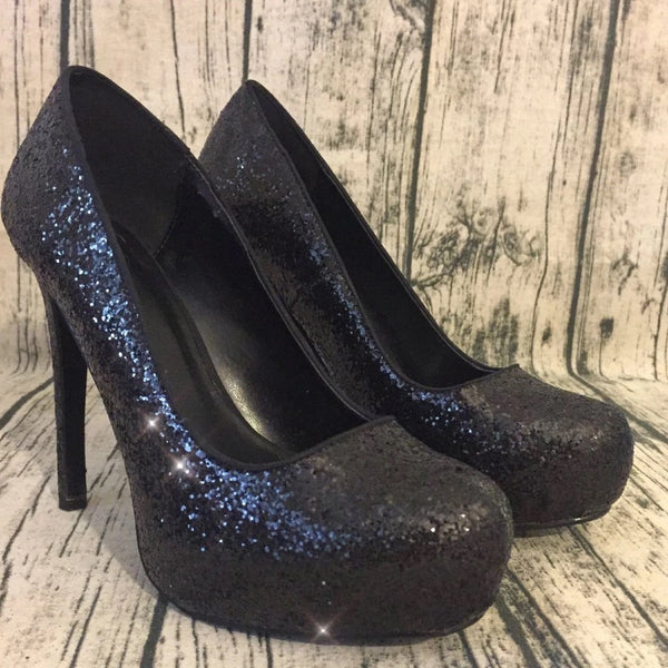Women's Sparkly Black Glitter Pumps high Heels wedding bride prom shoes