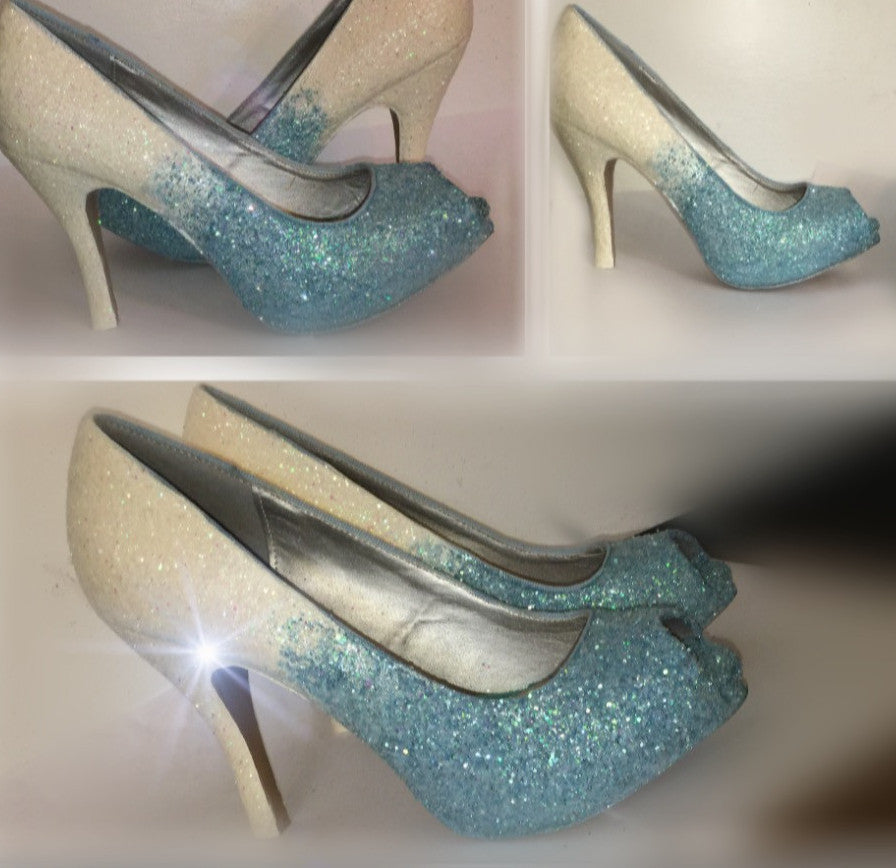 Sparkly Baby Blue White Glitter High U0026 Low Heels Wedding Bride Peep Toe Or Pumps  Shoes