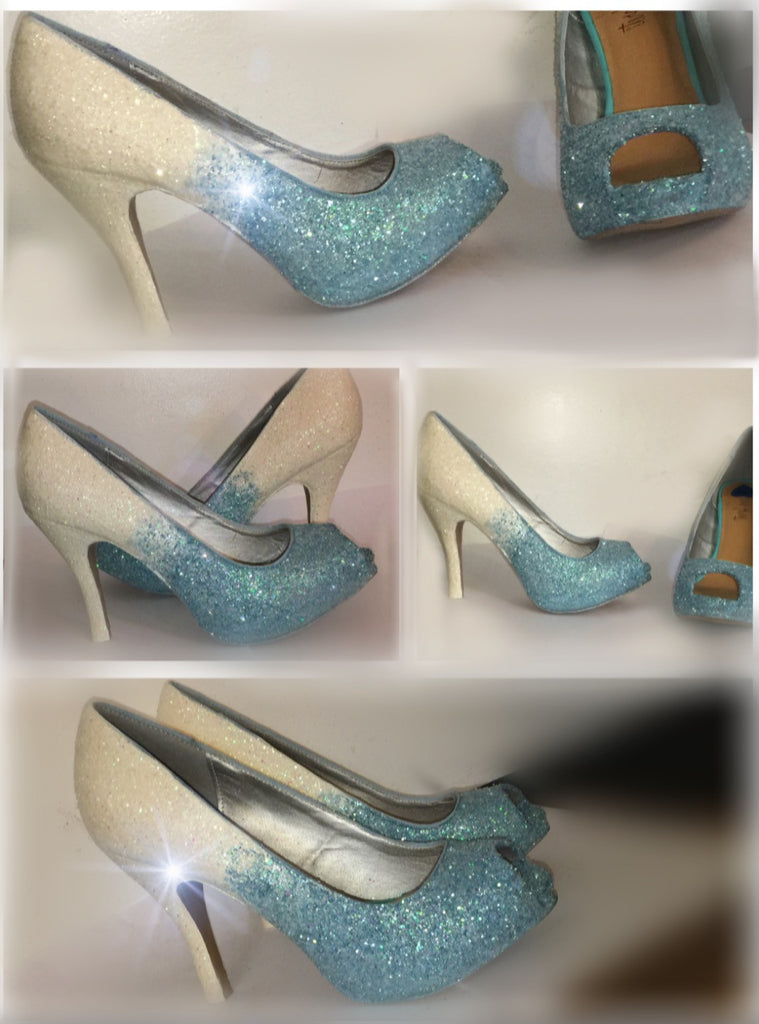 3bc8848291e0 ... shoes; Sparkly White Baby Blue ombre Glitter high & Low Heels wedding  bride Peep toe or Pumps