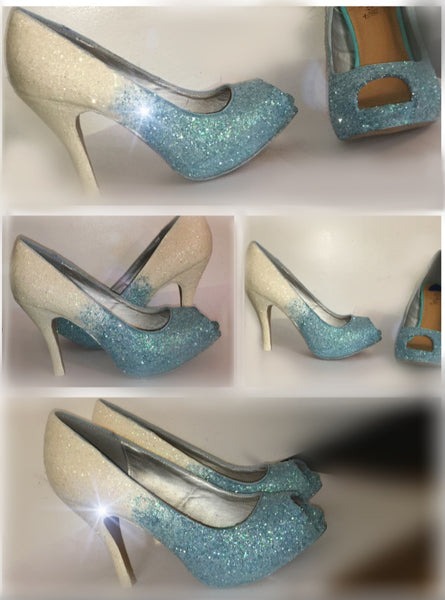 Sparkly White Baby Blue ombre Glitter high & Low Heels wedding bride Peep toe or Pumps shoes - Glitter Shoe Co