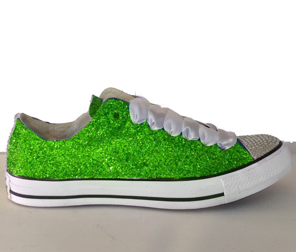 Women's Sparkly Green Glitter Crystals Converse All Stars wedding bride bridal Shoes