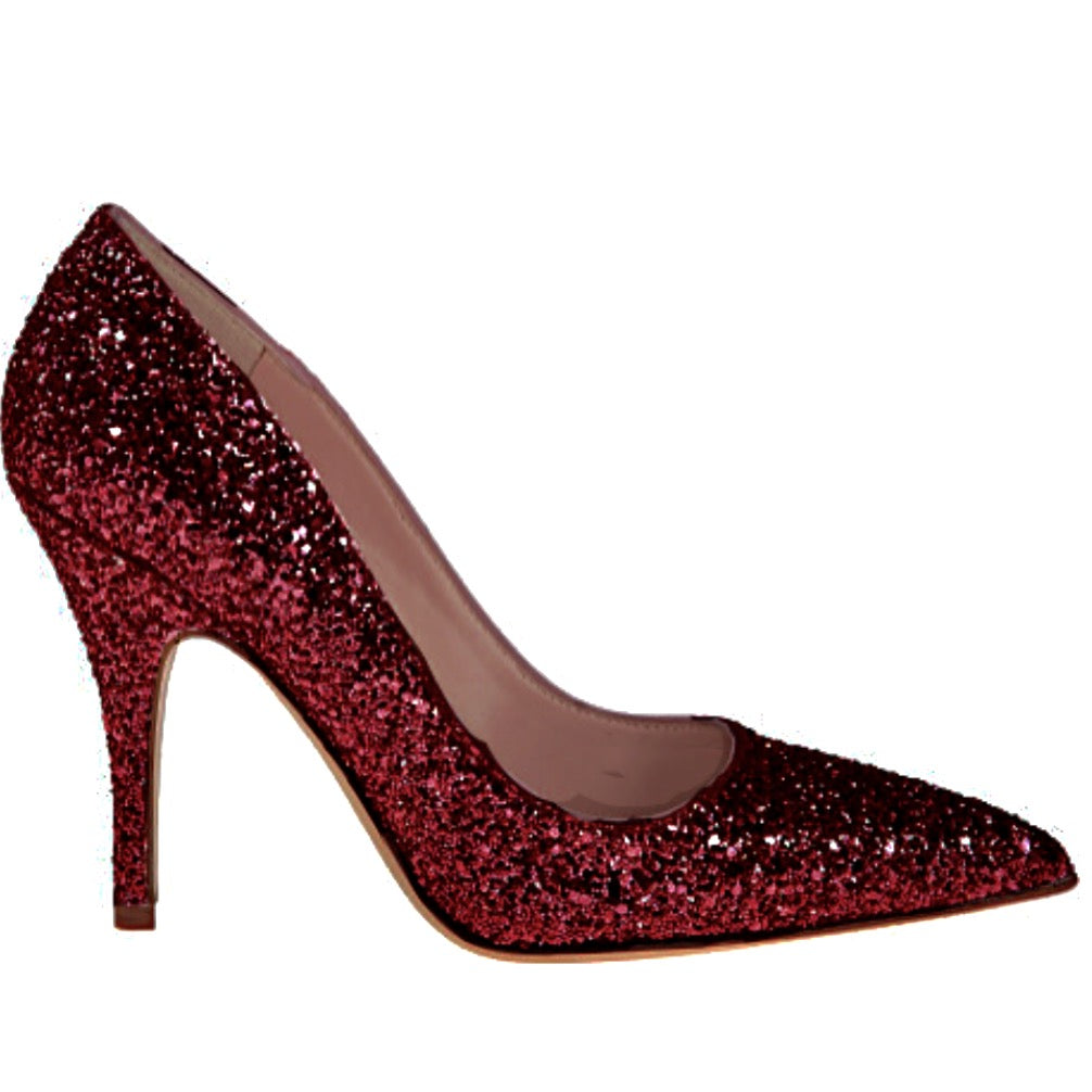 Women's Sparkly Glitter Heels Pointed Toe Pumps Shoes -Cayenne Burgundy