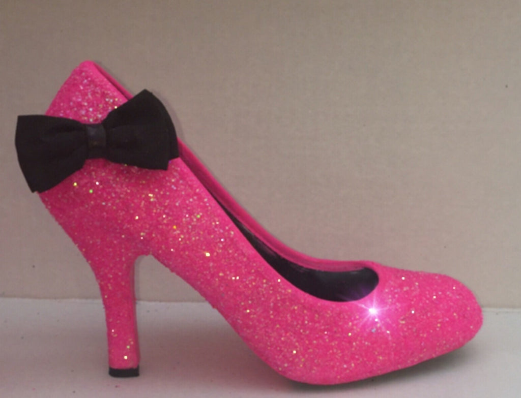 Pink Wedding Shoes Low Heel: Girly Hot Pink Glitter Black Bow Low Heels Wedding Bride