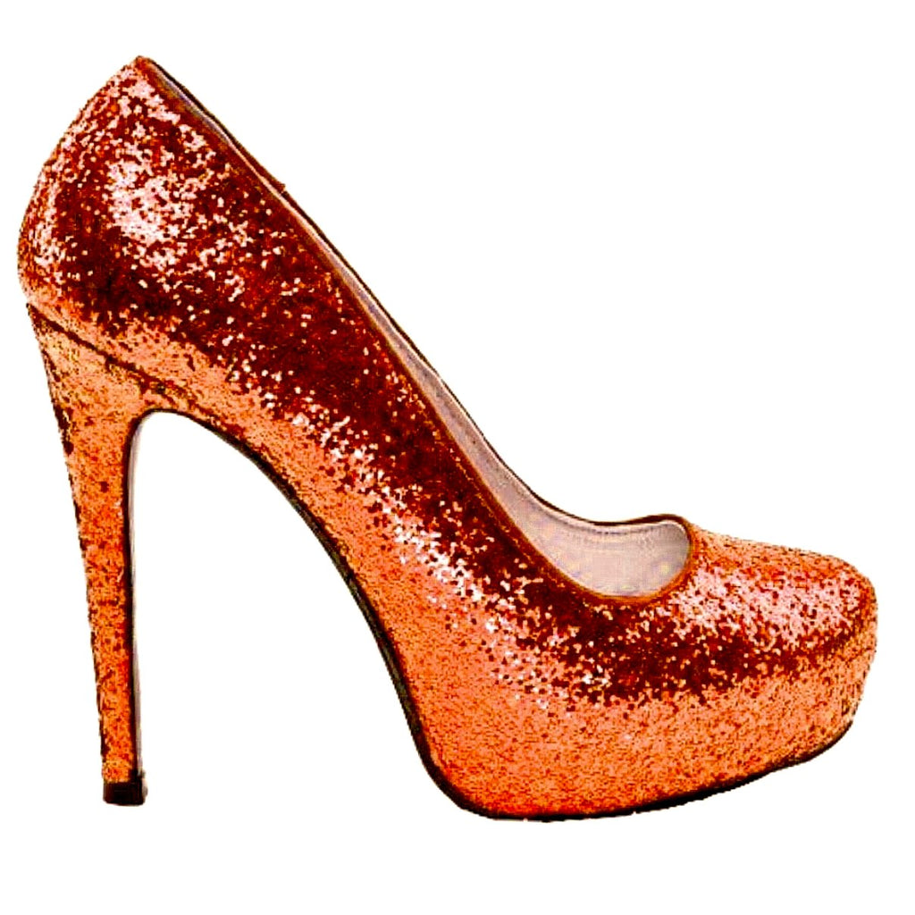 Women's Sparkly Orange Glitter high low Heels wedding bride shoes prom bridal