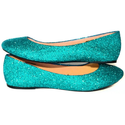 Women's Sparkly Mint Green Glitter BALLET Flats bride wedding shoes prom bridesmaid