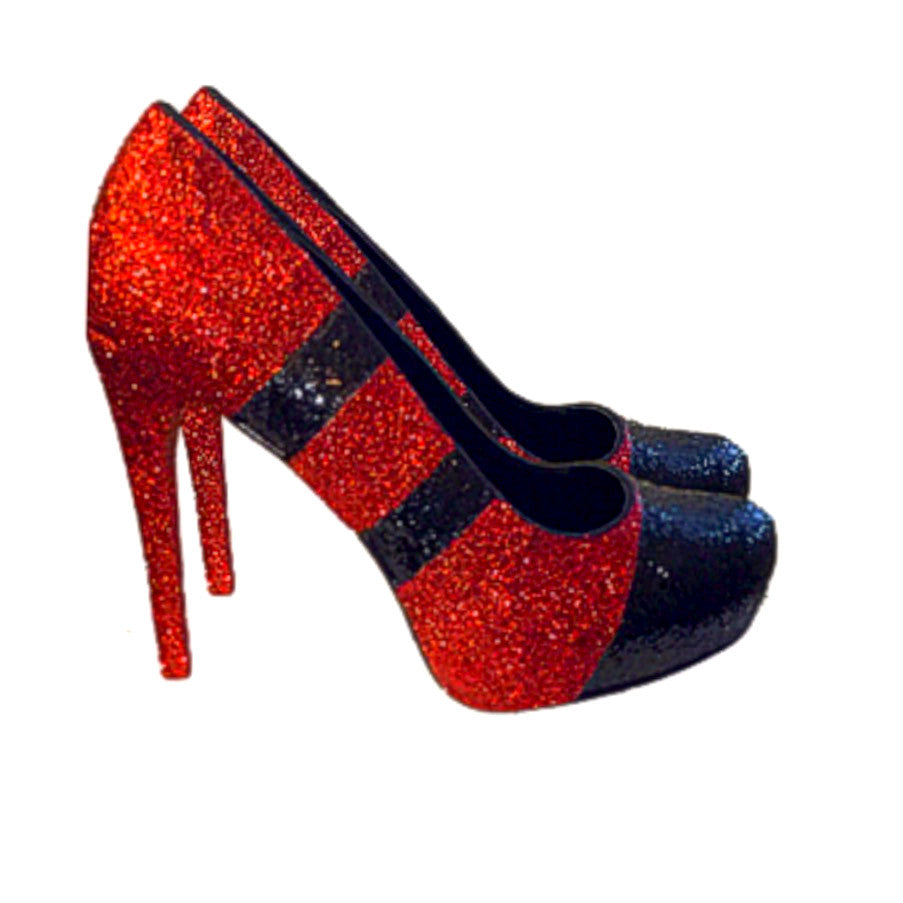 Sparkly Red Glitter Heels wedding bride College Football Sports Team shoes