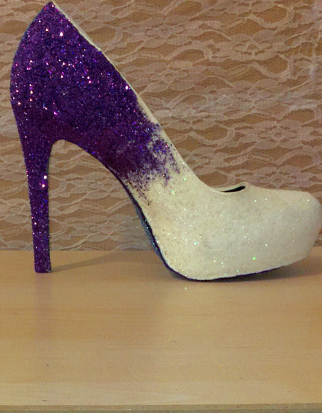 Women's Sparkly White Purple ombre Glitter Heels wedding bride Prom shoes