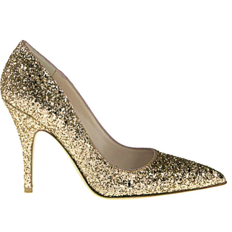 Women's Sparkly Glitter Heels Pointed Toe Pumps Shoes - Pale Gold