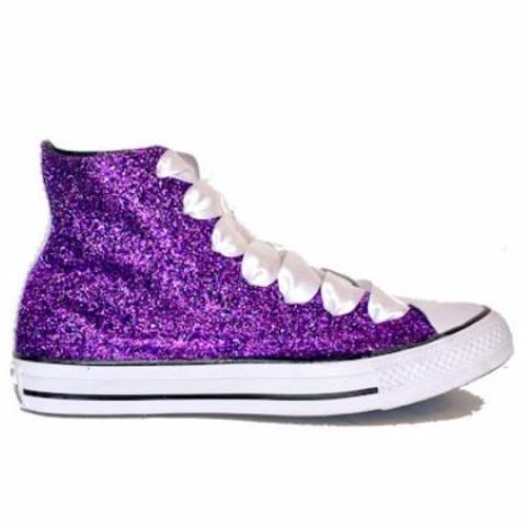 Sparkly Purple Glitter Converse All Stars High Top Wedding Bride Prom Shoes bridal sneakers