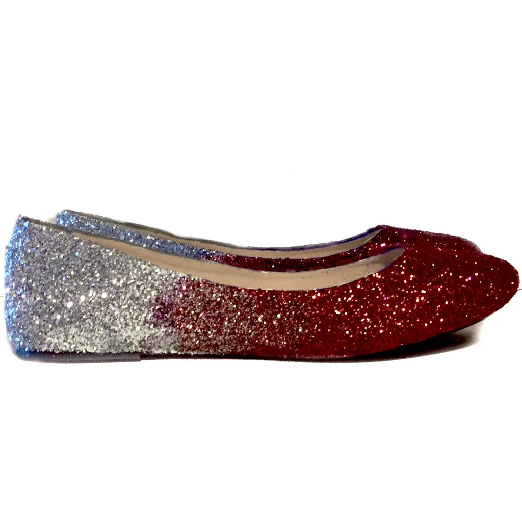 88a2acf2995 ... Women s Sparkly Burgundy Maroon Red Silver Ombre Glitter Ballet Flats  Wedding Bride Shoes ...