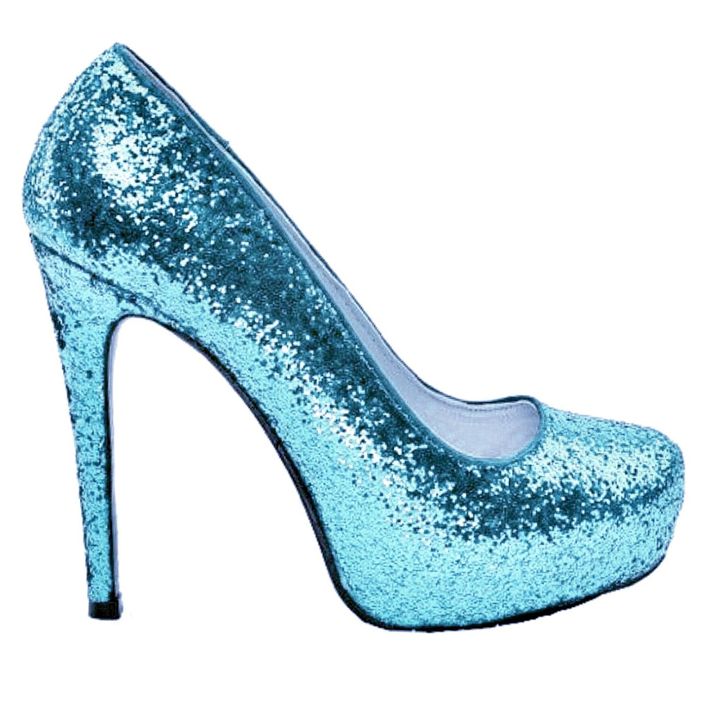 Womens Cinderella Blue Sparkly Crystals Glitter high low Heels wedding bride shoes